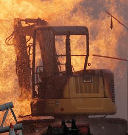 Excavator gas explosion