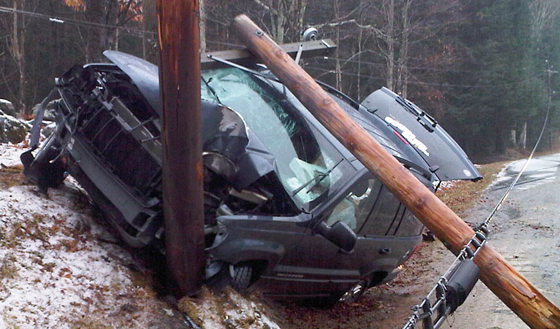Car accident with utility pole