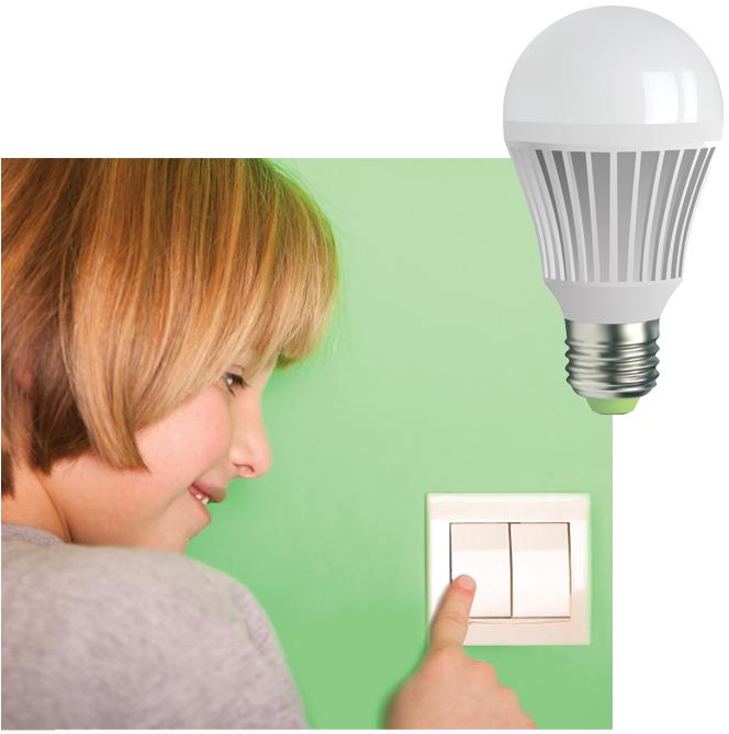 Girl turning off light switch