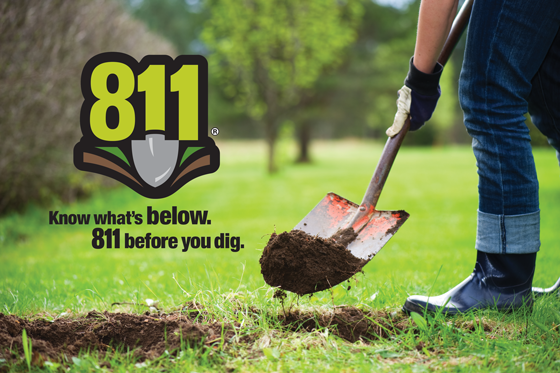 Closeup of person digging with shovel | 811® | Know what's below. | 811 before you dig.